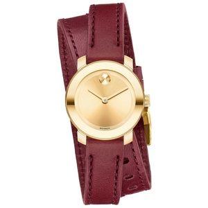 NWT Movado BOLD Burgundy Gold Wrap Around Watch